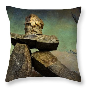 Inukshuk I Throw Pillow by Peggy Collins