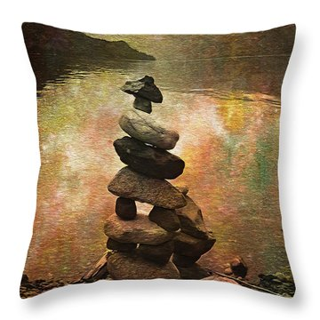 Inukshuk - Northern Lights Night Throw Pillow