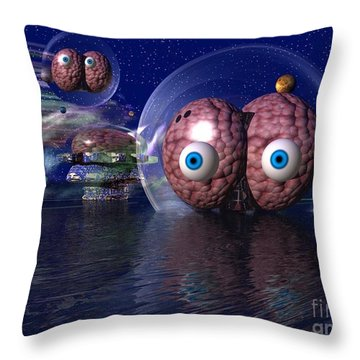 Throw Pillow featuring the digital art Invasion by Jacqueline Lloyd
