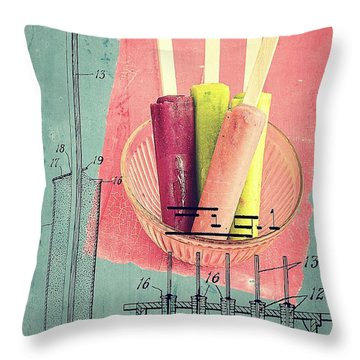 Invention Of The Ice Pop Throw Pillow