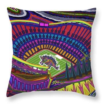 Invesco Field - Stegasaurus Stadium Throw Pillow by Robert SORENSEN