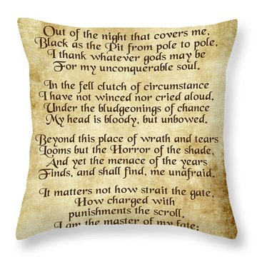Invictus - Old Parchment Design Throw Pillow