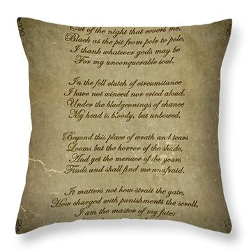 Invictus By William Ernest Henley Throw Pillow by Olga Hamilton