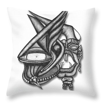 Throw Pillow featuring the drawing Ion Tiki by Carl Hunter