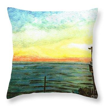 Throw Pillow featuring the painting Ionian Sea Zanti Greek Island by Teresa White