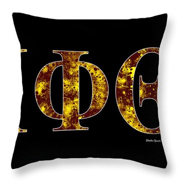 Throw Pillow featuring the digital art Iota Phi Theta - Black by Stephen Younts