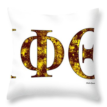 Throw Pillow featuring the digital art Iota Phi Theta - White by Stephen Younts