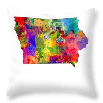 Iowa Map Throw Pillow