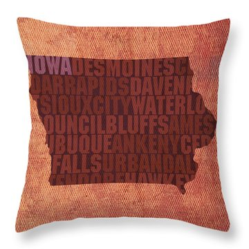 Iowa Word Art State Map On Canvas Throw Pillow by Design Turnpike