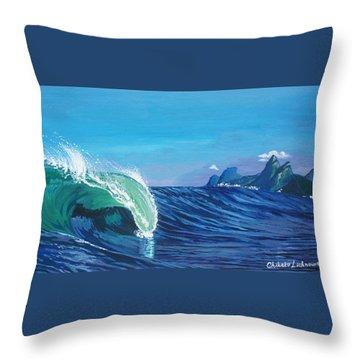 Ipanema Beach Throw Pillow by Chikako Hashimoto Lichnowsky