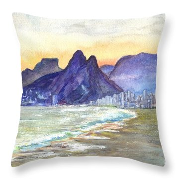 Sugarloaf Mountain And Ipanema Beach At Sunset Rio Dejaneiro  Brazil Throw Pillow