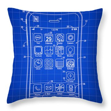 iPhone Patent - Blue Throw Pillow