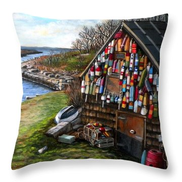 Ipswich Bay Wooden Buoys Throw Pillow by Eileen Patten Oliver
