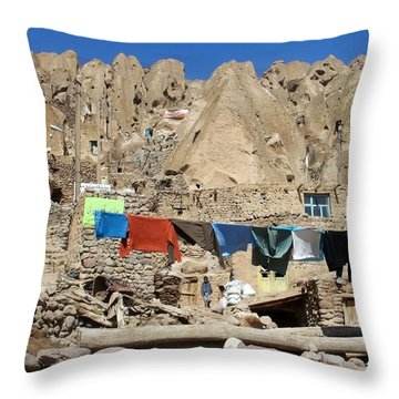 Iran Kandovan Stone Village Laundry Throw Pillow by Lois Ivancin Tavaf