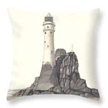 Throw Pillow featuring the drawing Ireland Lighthouse by Patricia Hiltz