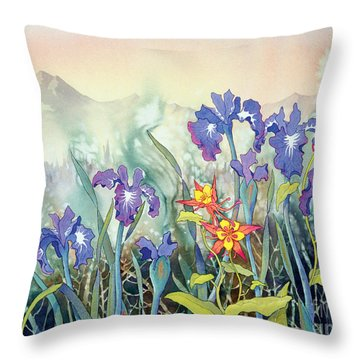 Throw Pillow featuring the painting Iris And Columbine II by Teresa Ascone