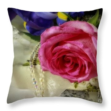 Iris And Rose On Vintage Treasure Box Throw Pillow by Inspired Nature Photography Fine Art Photography