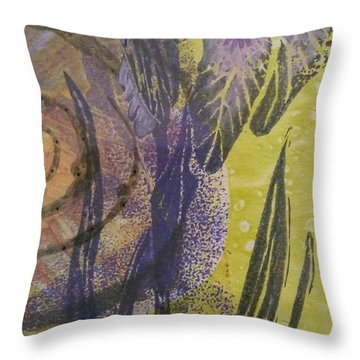 Iris And Spiral Throw Pillow by Cynthia Lagoudakis