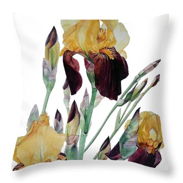 Watercolor Of Tall Bearded Iris In Yellow And Maroon I Call Iris Beethoven Throw Pillow