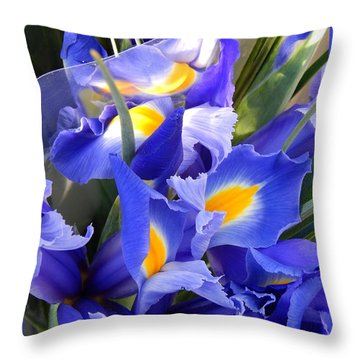 Iris Blues In New Orleans Louisiana Throw Pillow by Michael Hoard