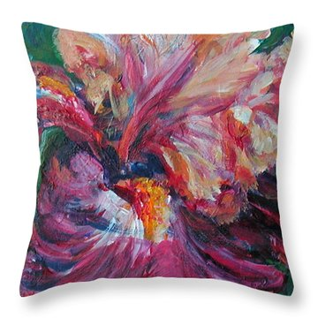 Iris - Bold Impressionist Painting Throw Pillow
