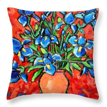 Iris Bouquet Throw Pillow by Ana Maria Edulescu