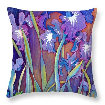 Throw Pillow featuring the mixed media Iris Bouquet by Teresa Ascone