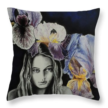 Throw Pillow featuring the drawing Iris by Carla Carson