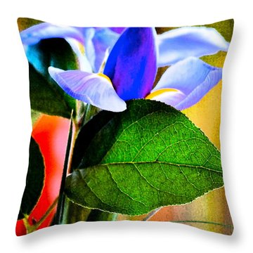 Iris Carried Away Throw Pillow by Gwyn Newcombe