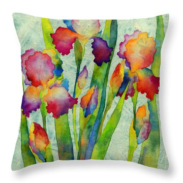 Iris Elegance On Green Throw Pillow