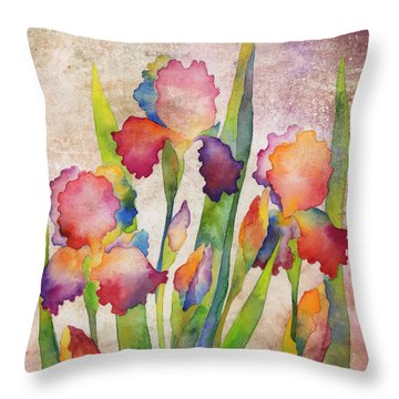 Iris Elegance On Pink Throw Pillow