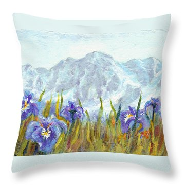 Iris Field In Alaska Throw Pillow by Karen Mattson