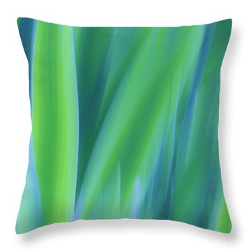 Iris Foliage Abstract Throw Pillow
