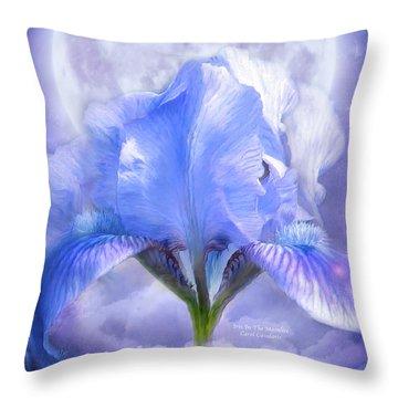 Iris - Goddess In The Moonlite Throw Pillow by Carol Cavalaris