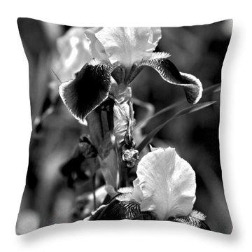 Iris In Black And White Throw Pillow by Karon Melillo DeVega