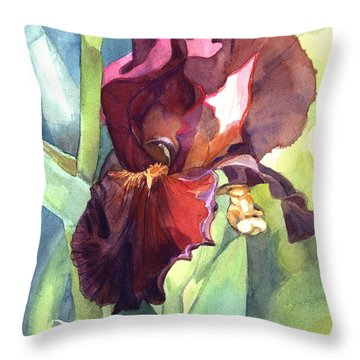 Watercolor Of A Tall Bearded Iris Called Sultan's Palace In Red And Burgundy Throw Pillow