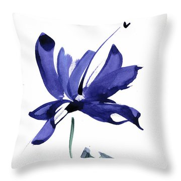 Iris In The Greenery Watercolor Throw Pillow by Frank Bright