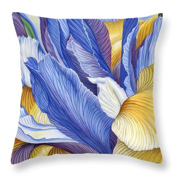 Throw Pillow featuring the painting Iris by Jane Girardot