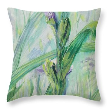 Iris Number Two Throw Pillow by Cathy Long