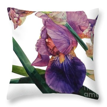 Watercolor Of A Tall Bearded Iris In A Color Rhapsody Throw Pillow