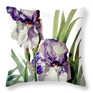 Watercolor Of A Tall Bearded Iris In Violet And White I Call Iris Selena Marie Throw Pillow