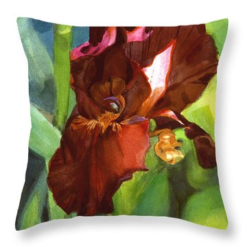 Watercolor Of A Tall Bearded Iris In Sienna Red Throw Pillow