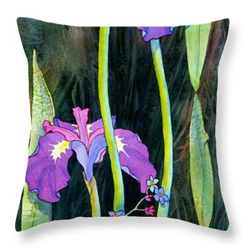 Throw Pillow featuring the painting Iris Tall And Slim by Teresa Ascone
