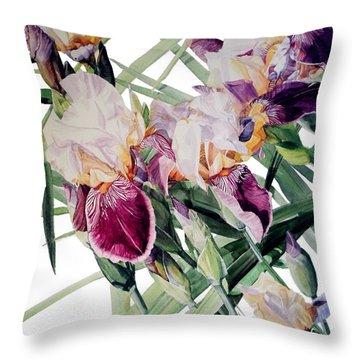 Watercolor Of Tall Bearded Irises I Call Iris Vivaldi Spring Throw Pillow