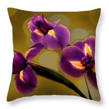 Irises And Bokeh Throw Pillow