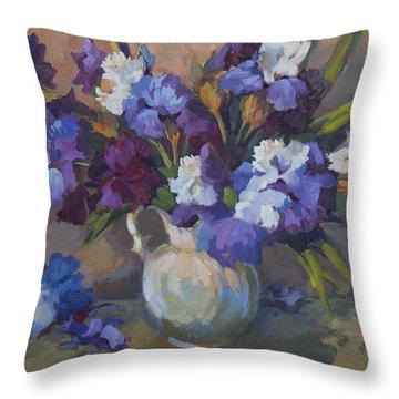 Irises Throw Pillow by Diane McClary
