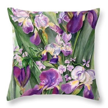 Irises In The Garden Throw Pillow
