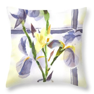 Irises In The Window II Throw Pillow by Kip DeVore