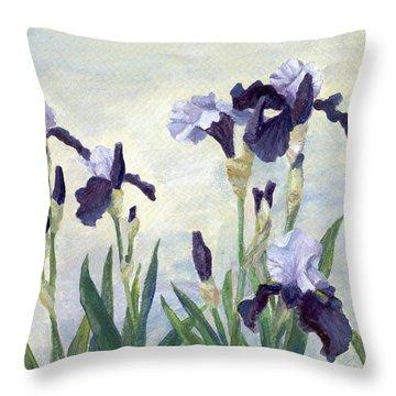 Irises Purple Flowers Painting Floral K. Joann Russell                                           Throw Pillow