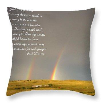 Irish Blessing Double Rainbow 07 11 14 Throw Pillow
